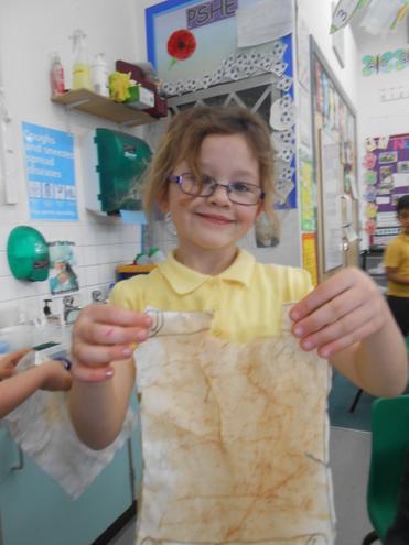 Making a treasure map using tea bags