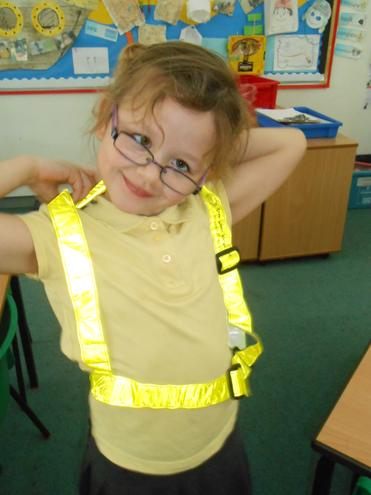 Trying on road safety clothing