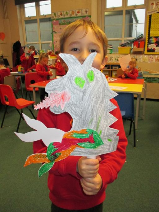 Sam spent a long time working on his dragon