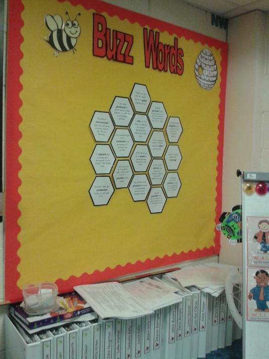 Our vocabulary display. We add a new honeycomb with a sentence including our word of the day each time we can use it correctly.