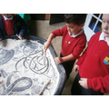 Mark making and letter formation in the bread mix