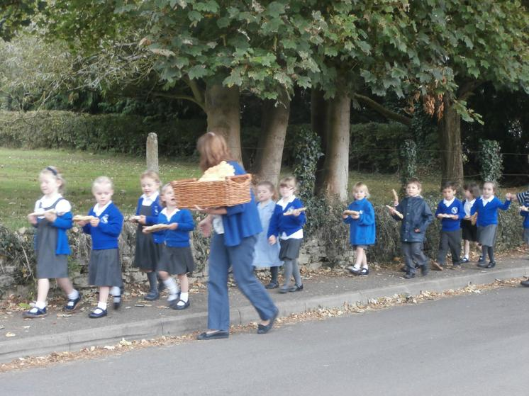 Taking our bread to the church.