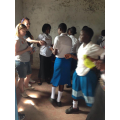 Girls were ecstatic to receive sanitary towels