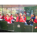 Year 4s board the steam train to be 'evacuated'