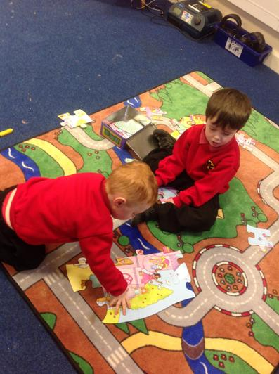 We use jigsaws and play together.