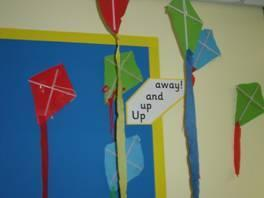 We cut out and made some colourful kites