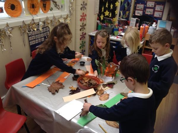 Art & craft using Autumn leaves