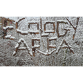 Ecology area sign in the snow