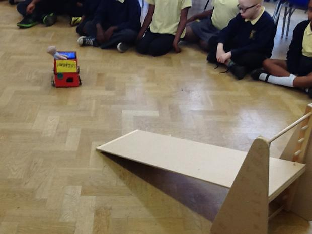 We tested our vehicles by rolling them down a ramp
