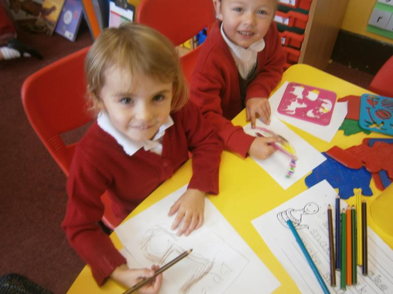 Literacy - writing and making stencil pictures