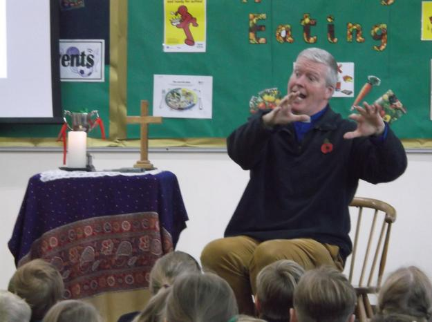 Rector David leading Celebration Assembly