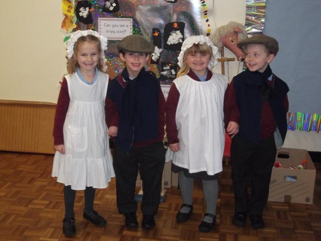 We dressed up in Victorian clothes.