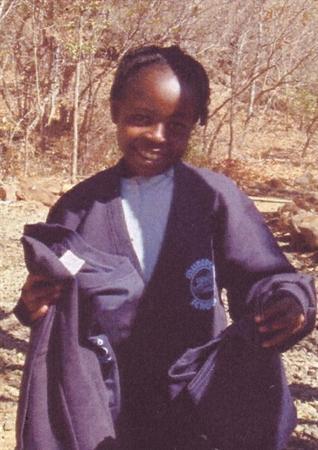 Esther wearing a Mudeford jumper