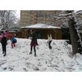 Year 6 playing in the snow.