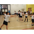 Working on our netball skills.