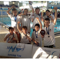 Our winning swimming team at the presentation.