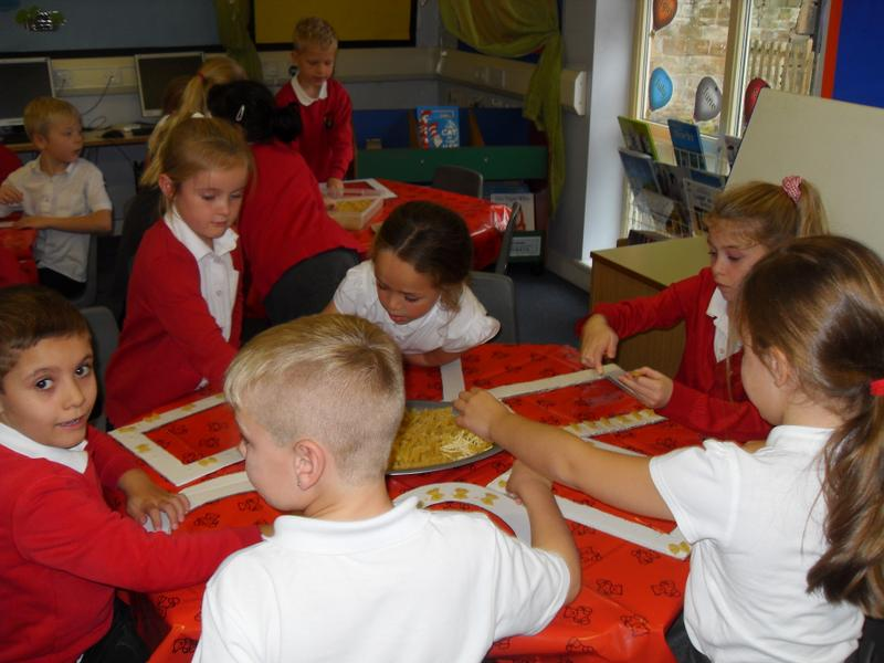 Using pasta to create  patterns for our frames