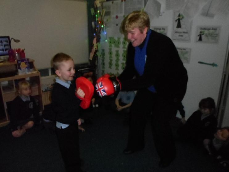 Mrs Collins was practising her boxing skills.