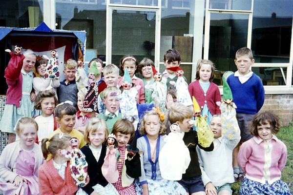 Class 1 with Puppets - 1964
