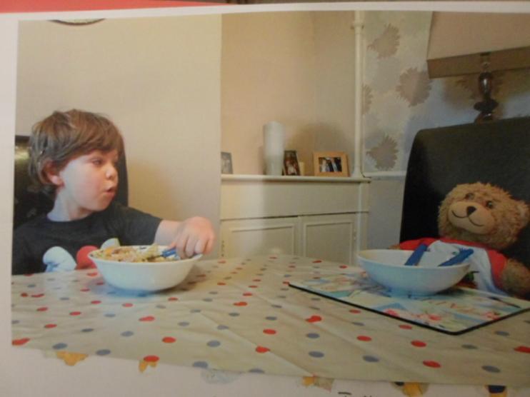 Jofli enjoying his pasta. Yum yum yum!