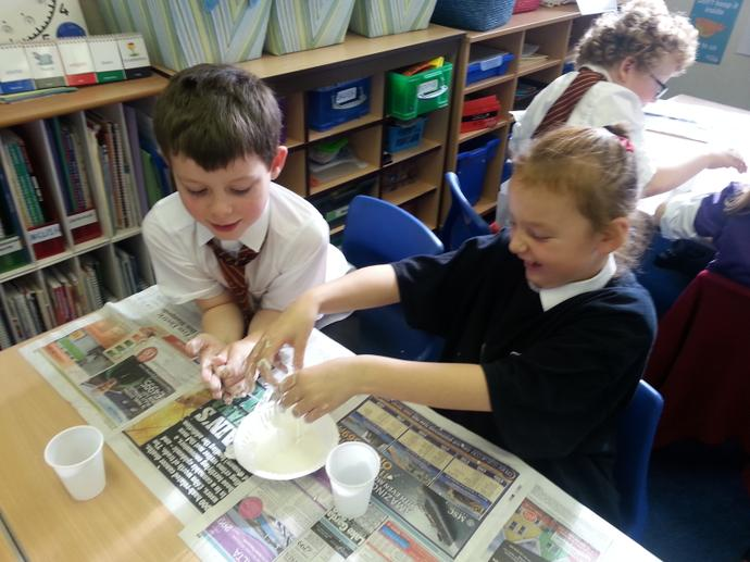 Getting sticky making slime!