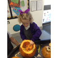 Exploring pumpkins.