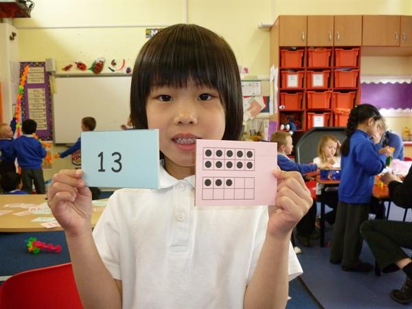 Counting tens and ones.