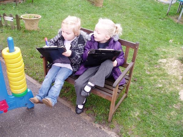 Writing in the garden.
