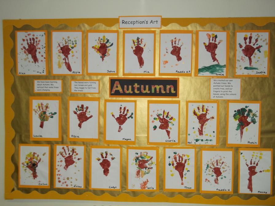 Reception Class Enjoyed Making Hand Print Trees