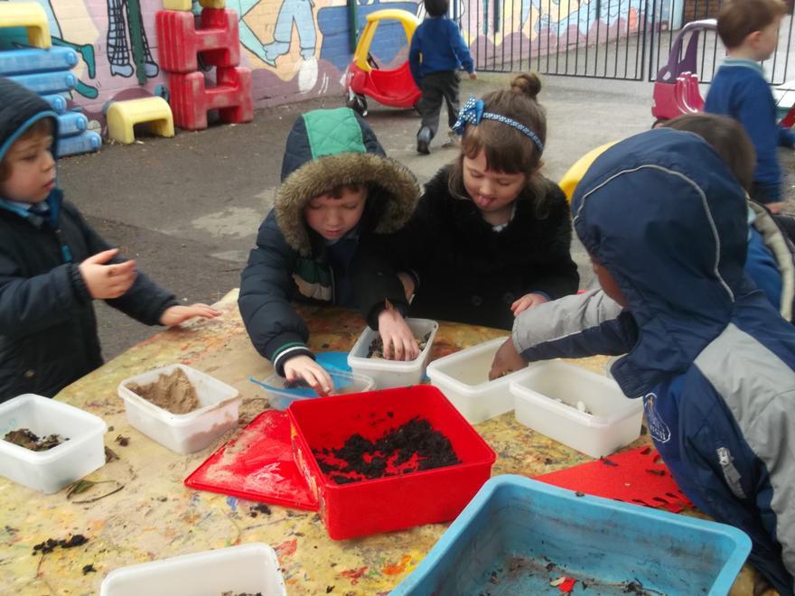We made dinosaur habitats.