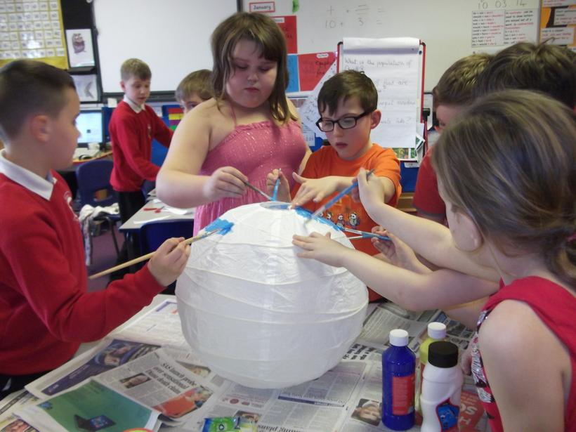 Why did we use blue to paint this lantern?
