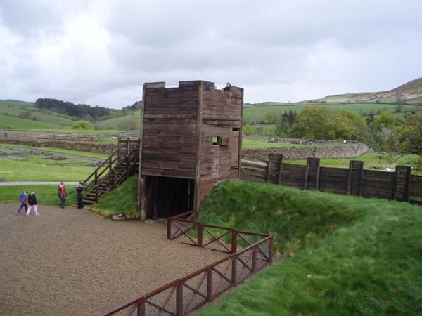 Wooden turret built pre-stone wall