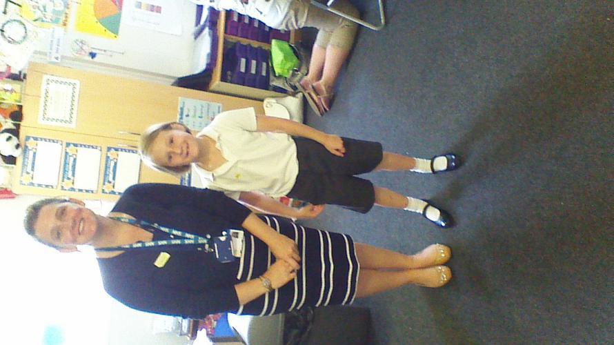 Maisie with the nurse.