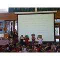 Reception showed their art work.
