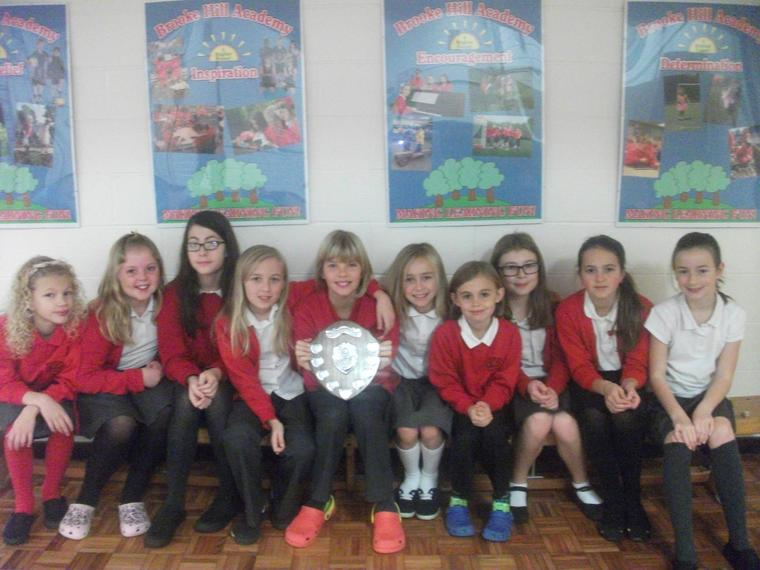 Yr 5/6 girls football team win the league.