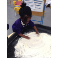 Drawing in flour.