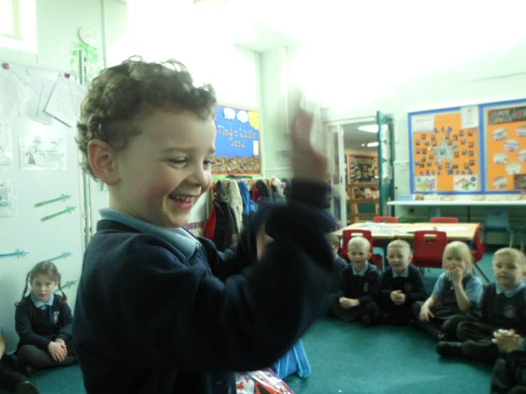 Showing Reception how to swim properly.
