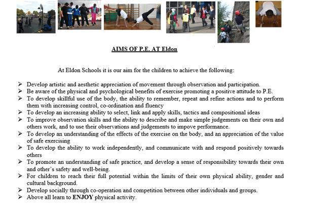 Aims of PE at Eldon