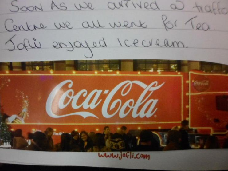 Jofli went to see the CocaCola truck
