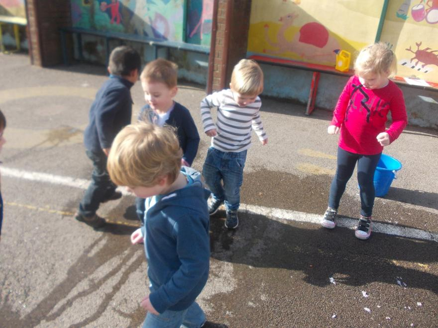 We made puddles.