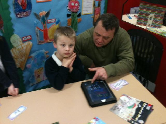 Ley practising his handwriting on the ipad!