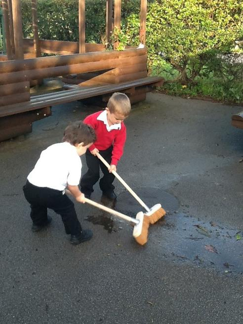 It's hard work sweeping