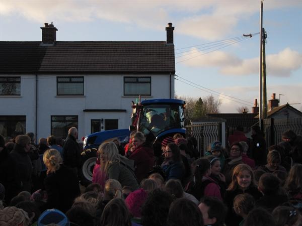 He arrived in a tractor!