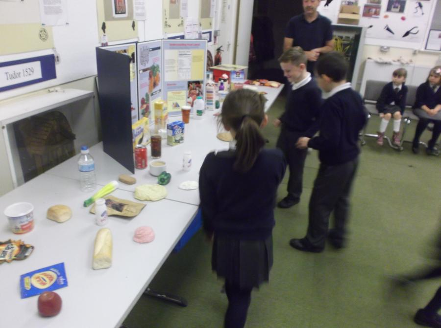 Selecting food for different groups.