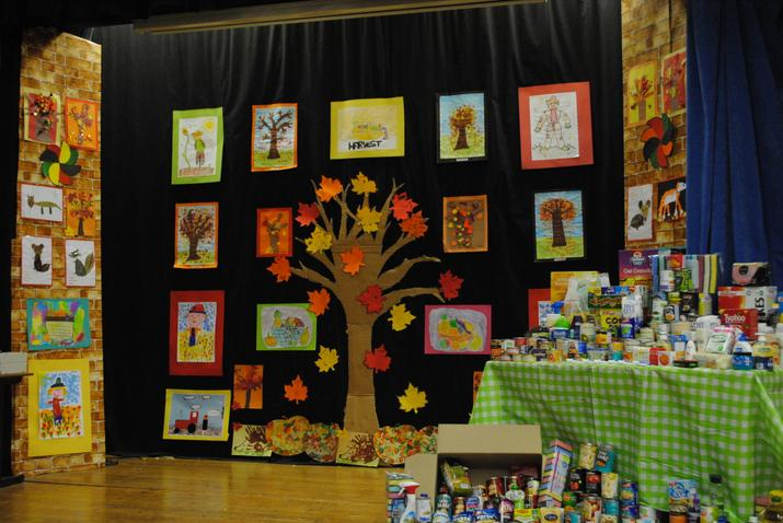 The Hall stage decorated by Mrs Lyons and helpers!