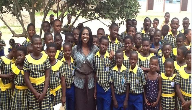 Mrs Gyamerah with pupils of Bethel School.
