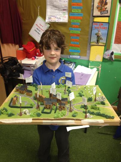 Model of the village, complete with captions.
