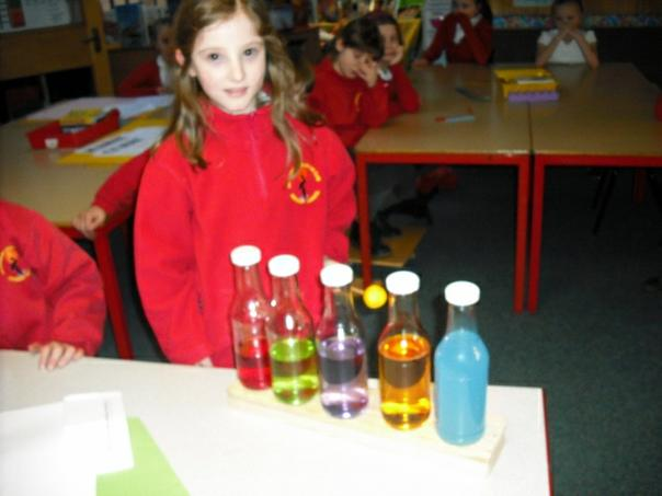 Kate created a pentatonic scale with her bottles.