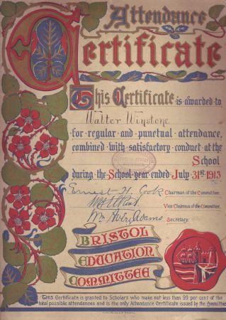 1913 Attendance Certificate