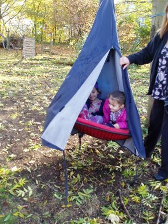 Trying out our 'forest' swing